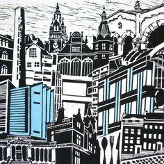 """Sheffield"" montage lino print by Zoe Badger http://folksy.com/shops/zebedee. Tags: Linocut, Cut, Print, Linoleum, Lino, Carving, Block, Woodcut, Helen Elstone, Town, City, Buildings, Architecture."