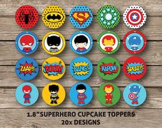 Superhero Cupcake Toppers Printable DIY Batman por RedAppleStudio