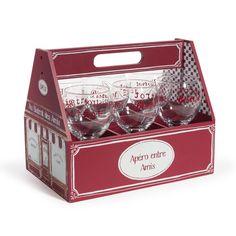 Panier 6 verres en verre rouges BISTROT