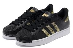 Adidas Superstar Black Gold Skateboarding Shoes #adidas #Trainers