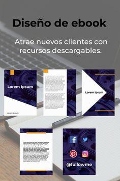 ¿Quieres atraer nuevos clientes? Un ebook que solucione sus problemas concretos es la mejor opción. Desktop Screenshot, Cover Design, Social Networks, Cover Pages