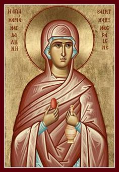Saint Mary Magdalene: Icon with the red egg {or why we dye eggs} Religious Images, Religious Icons, Religious Art, Maria Magdalena, Marie Madeleine, Images Of Mary, Christ Is Risen, Catholic Saints, Patron Saints