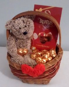 $15 @Ebay  Small Valentines Day Bear Chocolate Gift Basket  #Handmade Valentine Gift Baskets, Valentine's Day Gift Baskets, Valentine Day Gifts, Valentine Ideas, Valentines Day Bears, Candy Bouquet, Chocolate Gifts, Valentine's Day Diy, Holiday Crafts