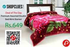 Shopclues #DealofTheDay is offering 50% off on Premium Assorted Double Bed Mink Blanket Just at Rs.649. Warm & Soft Cheerful Floral Double Bed Mink Blanket, Hand wash with cold water or machine wash with gentle cycle, Tumble Dry, Do not bleach, Dry in shade, Soft to Touch, Keeps warm and cozy, Easy to wash, Attractive design and color.  http://www.paisebachaoindia.com/premium-assorted-double-bed-mink-blanket-just-at-rs-649-shopclues/