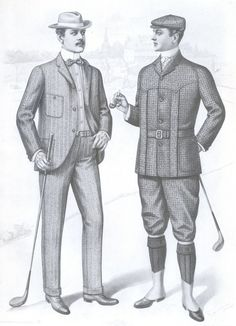 This image represents this period because the man on the right is wearing a Norfolk jacket.The Types of hats and neckwear are of the period.