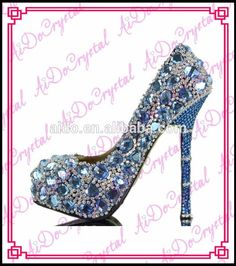 Luxury elegance 14cm bling blue rhinestone glitter high heel shoes and matching cluch bag set