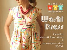 Washi Dress & Tunic Sewing Pattern ($16) | Made by Rae