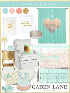 Coral Nursery Ideas: Coral Mint & Gold Nursery Color Palette