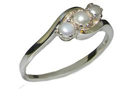 925 Sterling Silver Cultured Pearl Womens Trilogy Ring - Sizes 4 to 12 Available ** Additional info @…