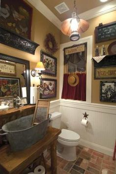 Country bathroom.  So much to look at.