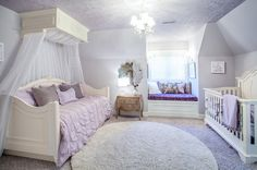 I love this transition from the crib to the daybed. The lavender color is very soothing.