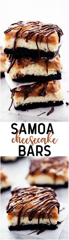 A chocolate oreo crust with creamy cheesecake in the center and topped with coconut caramel and drizzled in chocolate. All of the things that you love in a Samoa Cookie in a delicious cheesecake dessert!: