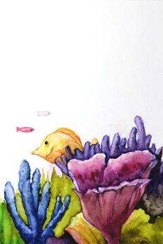 Korallen und Fische, Aquarell, original, nicht gedruckt by ManamiTakamatsu on Etsy