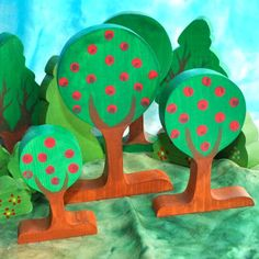 Wooden Toy Small Orchard of Wooden Apple by TheEnchantedCupboard, $45.00