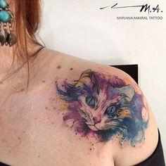 #marianaamaraltattoo #tattoo #tatuagem #watercolor #watercolortattoo #watercolortattoos #sketchtattoo #sketchytattoo #sketch #colortattoo #aquarela #aquarelatattoo #beautiful #nofilter #delicatetattoo #tatuagensfemininas #tattoodesign #wctattoos #TattooistArtMagazine #InspirationTatto #tattoodo #tattooartistmagazine #tattooculturemagazine #equilattera #thebesttattooartists #perfecttattoo #inkedmag #tonoinsptattoos #cat #gato  Tatuadora: Mariana Amaral…