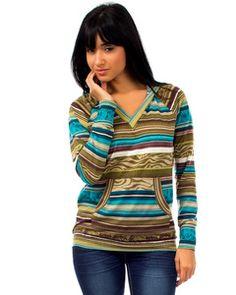 Bohemian Stripe sweater with Hood....Visit www.AcknowledgeUS.com today and place your order!