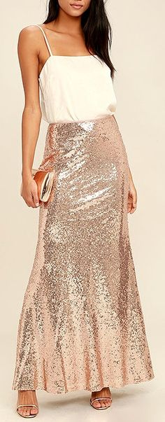 The Effervescent Evening Gold Sequin Maxi Skirt is sure to show off your bubbly personality! Sparkling sequins bedazzle a high fitted waist and flaring maxi hem. Cute Fashion, Fashion Outfits, Formal Fashion, Gold Fashion, Classy Outfits, Beautiful Outfits, Sequin Maxi, Young Fashion, Event Dresses
