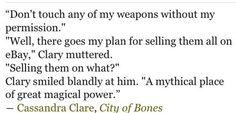 Funny quote from city of bones   TMI/TID/TDA   Pinterest