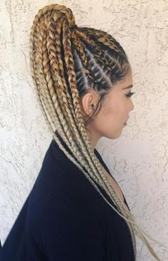 Braided Cornrow Ponytail Ombre ❤️ Looking for cornrows braids for black women? These straight back cornrows, big braided updo, side braided hairstyle and lots of cool hairdos will make you look like goddesses. Thick Cornrows Hairstyles, Cornrow Ponytail, Blonde Ponytail, Braided Hairstyles For Black Women, Braids For Black Women, African Hairstyles, Ponytail Hairstyles, Girl Hairstyles, Hairstyles Haircuts
