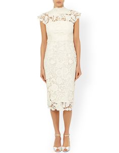 Crafted from luxurious floral lace, our ivory Willow bridal dress is ornamented with a high neckline and flattering cap sleeves. Cut for a close fit without feeling restrictive, this mid-length piece is lined in stretch jersey for a comfortable fit. Features a back zip fastening.