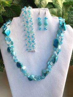 Turquoise Aqua Blue Green Teal Shell Crystal by TinaMarieTreasures