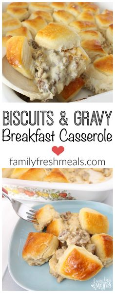 """Biscuits and Gravy Breakfast Casserole Recipe via Family Fresh Meals - """"A family favorite breakfast that is a cinch to make!"""" - The Best Homemade Biscuits Recipes - Quick, Easy and Delicious Bread Sid (Best Breakfast Casserole) What's For Breakfast, Breakfast Dishes, Breakfast Biscuits, Yummy Breakfast Ideas, Hashbrown Breakfast, Breakfast Crockpot, Breakfast Tailgate Food, Breakfast Pictures, Frozen Breakfast"""