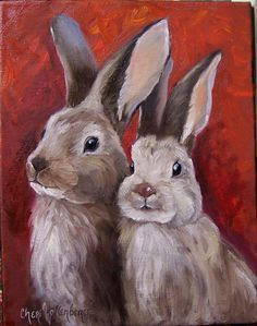 Rabbit Print Valentine Love Bunnies 6x8 Canvas Giclee Reproduction of Original Oil Painting by Cheri Wollenberg on Etsy, $35.00 #OilPaintingColorful