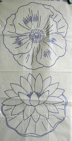 VINTAGE EMBROIDERY TRANSFER  -  2 LARGE FLOWER HEADS - WATER LILY & POPPY