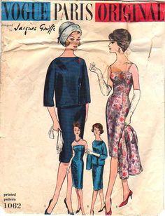Vintage Vogue 60s Designer Jacques Griffe wiggle dress sewing pattern..   A MOMSPatterns Favorite