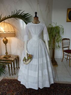 1845-Romantic-Period-Summer-Gown-antique-Dress-antique-gown-robe-ancienne
