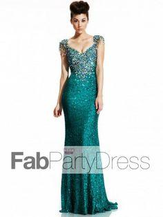 Sheath / Column V-neck Beading Sleeveless Floor-length Lace Prom Dresses / Evening Dresses - FabPartyDress.com