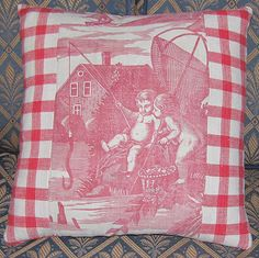 Antique French Toile de Jouy Nantes Pillow by FromAFrenchAttic, £35.00
