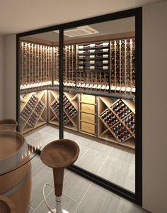 Glass Wine Cellar, Home Wine Cellars, Wine Cellar Design, Wine Design, Wine Vault, Wine Cellar Basement, Home Bar Designs, Wine Cabinets, Restaurant Interior Design