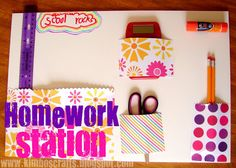 DIY Homework Station! Keep your kids organized during the school year with this homemade homework station made using foam board, glue sticks, craft paper, and other simple craft supplies.