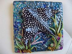 """4x4 square polymer clay tile """"Ocean Collection""""  (white ceramic tile underlay) created by ShooShoo Jewelry"""