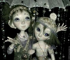 """Купить Куклы"""" Звёздный дождь"""" - золотой, бледно-сиреневый, мальчик, девочка, зонт, звезды, дождь"""
