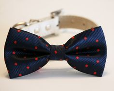 Navy and Red Dog Bow Tie, Polka dots bow, Pet accessory, Navy wedding, Dog Lovers, Dog birthday gift