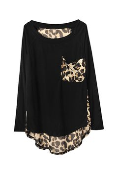 leopard print detail top $98