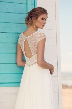 Honey Wedding Gown: Beautiful long dress with different kinds of lace on the top and geometrical cut out on the back. Rembo Styling 2019 Collection Visit the post for more. Corset Back Wedding Dress, Western Wedding Dresses, Top Wedding Dresses, Bohemian Wedding Dresses, Bridal Dresses, Wedding Gowns, Lace Wedding, Rembo Styling, Beautiful Long Dresses