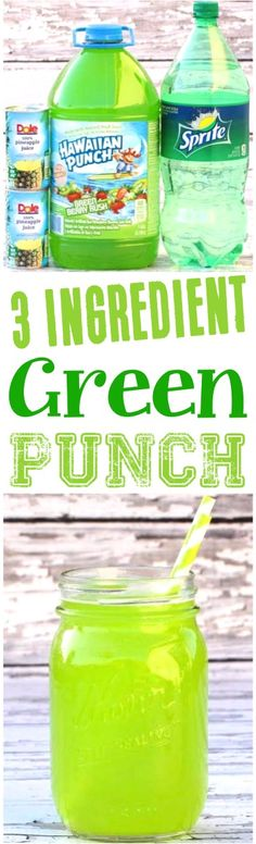 Green Drink Recipes For Kids! This punch recipe for a crowd is the perfect beverage for Summer party themes!