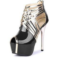 Fereshte Womens Sexy Fashion Peep-toe Stripe Sandals Super High Heels ($16) ❤ liked on Polyvore featuring shoes, sandals, sexy shoes, high heel sandals, wide shoes, peeptoe shoes and sexy high heel sandals