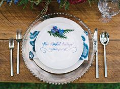 indigo blue plate calligraphy by Miss B Calligraphy..... Styled Shoot by Couture Events Maui and Mandy Grace Designs..... Photography by Wendy Laurel