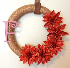 Monogram Holiday Wreath-Poinsettia by TheBeautifulDoor on Etsy