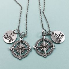 Best friend necklace, no matter where, compass charm, bff necklace, sister, mother daughter, friendship jewelry, friends, quote necklace by Toodaughters on Etsy https://www.etsy.com/listing/242645195/best-friend-necklace-no-matter-where
