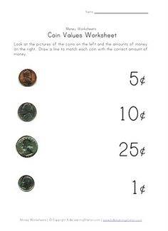 Printables Identifying Money Worksheets identify coin values lessons for kids pinterest coins money help recognize the different basic penny nickel dime and quarter their value find lots of printable work