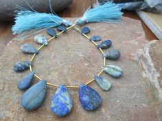 "At Factory Price, Full strand forsted  lapis lazuli pear Briolette""Matte Finished""Smooth Handmade Beads, (ITEM ID:- E-4147) 100% Natural by JaiVyavsayBeads on Etsy"