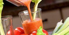 Tomato-Vegetable Juice:  2   tomatoes    1⁄2   stalk  celery    2⁄3   c  red bell pepper    1⁄8    lemon slice    1   pinch  kosher salt
