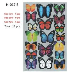 Amazon.com: Prefer Green 2 X 19 PCS 3D Colorful Butterfly Wall Stickers DIY Art Decor Crafts (H-017 B): Home & Kitchen