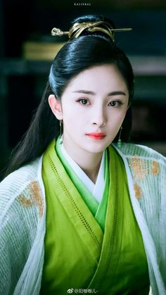 Baili — though she'd more likely wear pink or red than green. Prity Girl, L5r, Turkish Beauty, China Girl, Oriental Fashion, Chinese Actress, Chinese Culture, Asian Actors, Asian Woman
