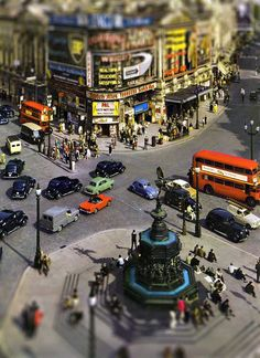 Picadilly Circus  - tiltshift edit - 1960's